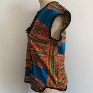 Vintage Tops - Vintage 60s 70s Tribal Hippie Caftan Shirt / Dashi